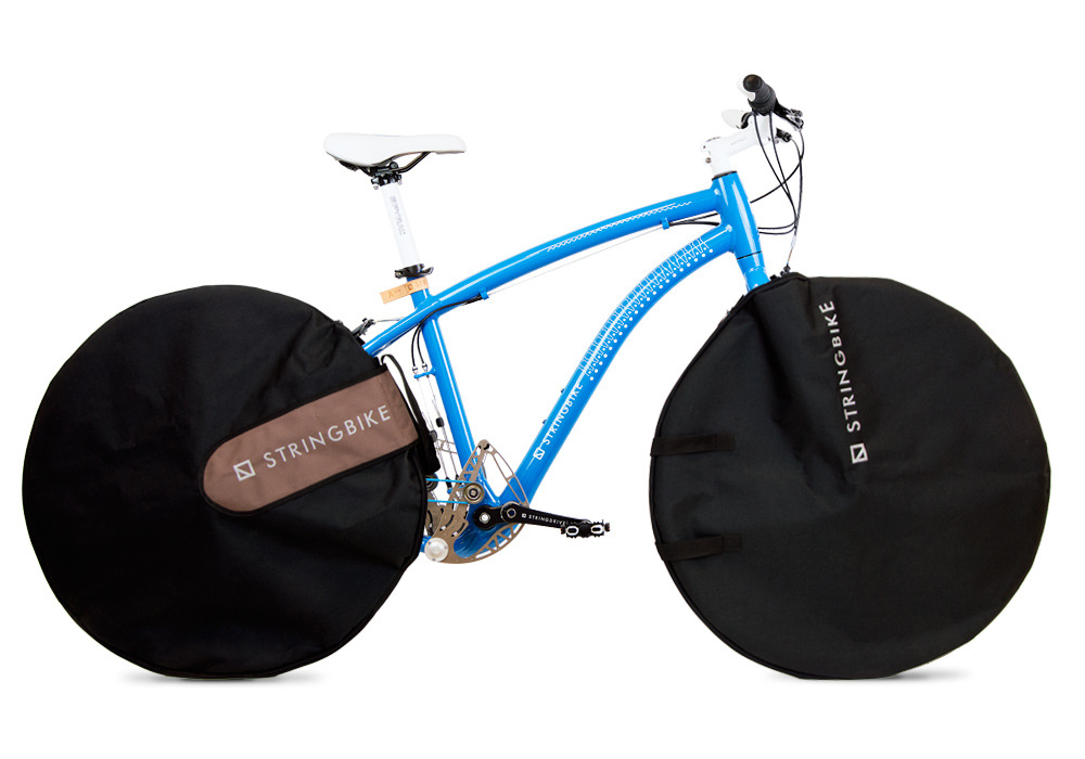 Stringbike - rear and front wheel bags mounted on bike