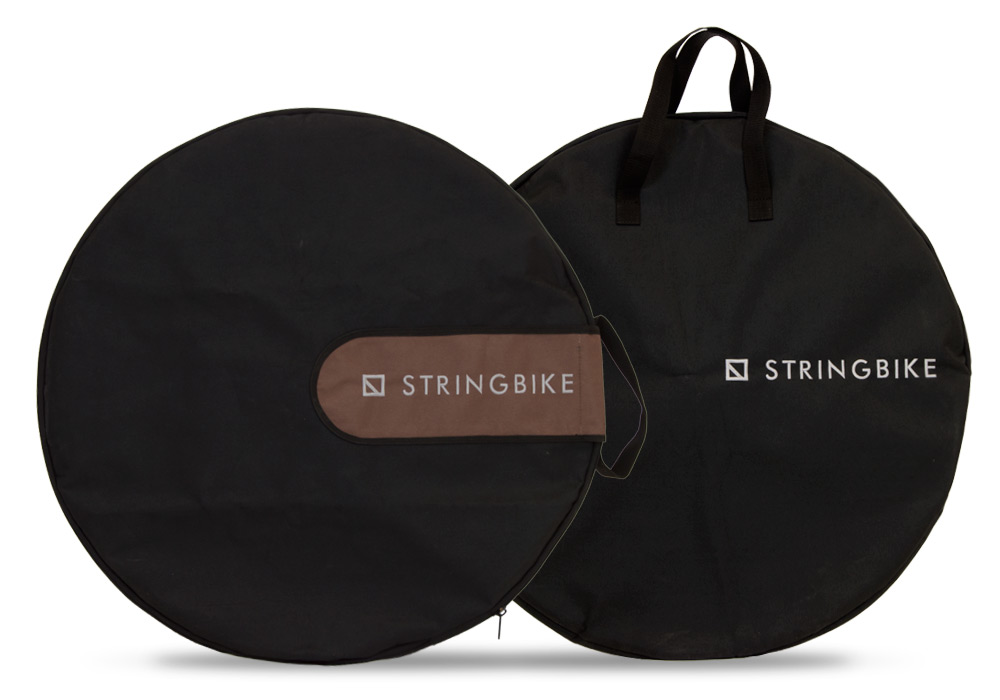 Stringbike - rear and front wheel bags mounted on wheels
